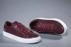 lacoste europa sneaker leather win red